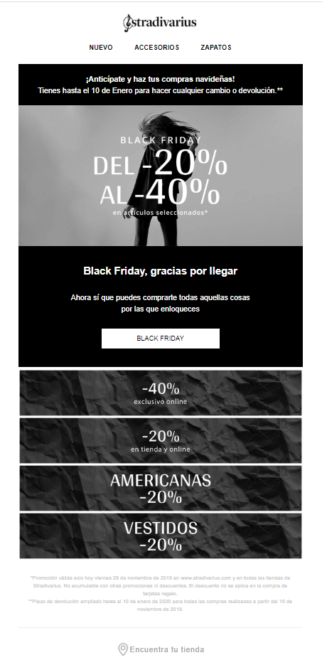 Idea de newsletter black friday y cybermonday