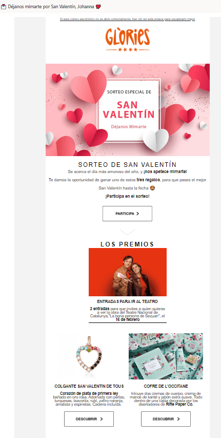 Idea de newsletter San Valentin