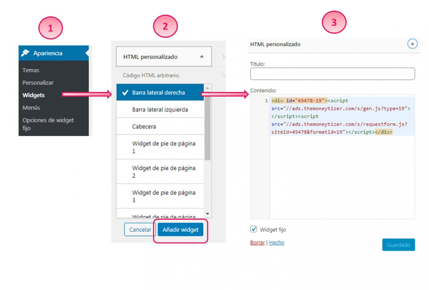 Pasos copia y pega codigo html formato de publicidad