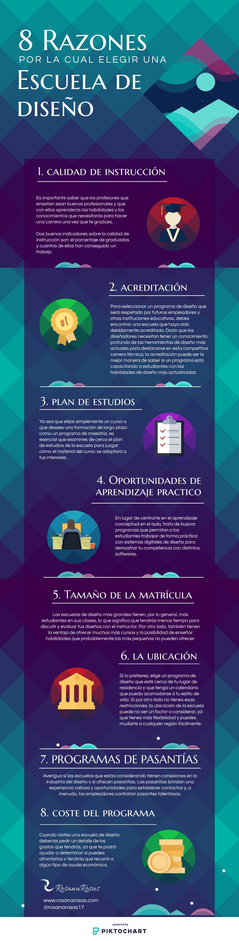 infografia razones para elegir una escuela de diseño
